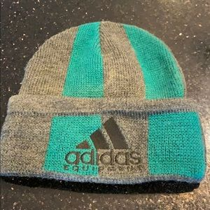 Adidas beanie in green and gray